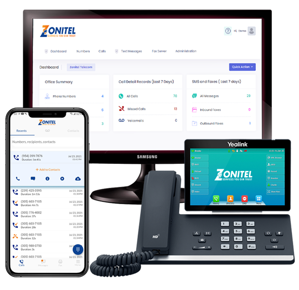 Zonitel Phone, App and web portal